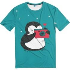Мужская футболка Пингвин с фотоаппаратом