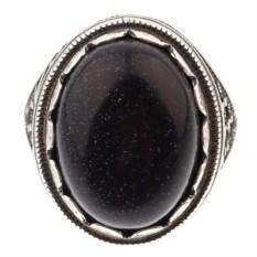 Кольцо из мельхиора в посеребрении с авантюрином Византия