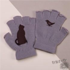 Серые полуперчатки Черный кот