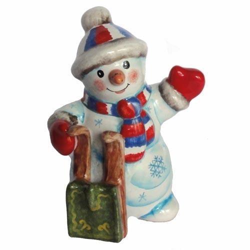 Фигурка Снеговик с санками