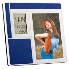 Рамка для фотографии 9х13 см с часами, датой, термометром, синяя