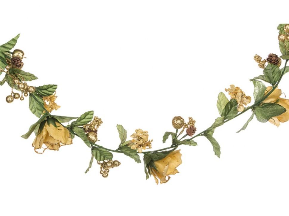 Гирлянда Розы, гортензии, ягоды (цвет — золото)