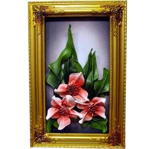 Картина из кожи «Бордовые орхидеи»