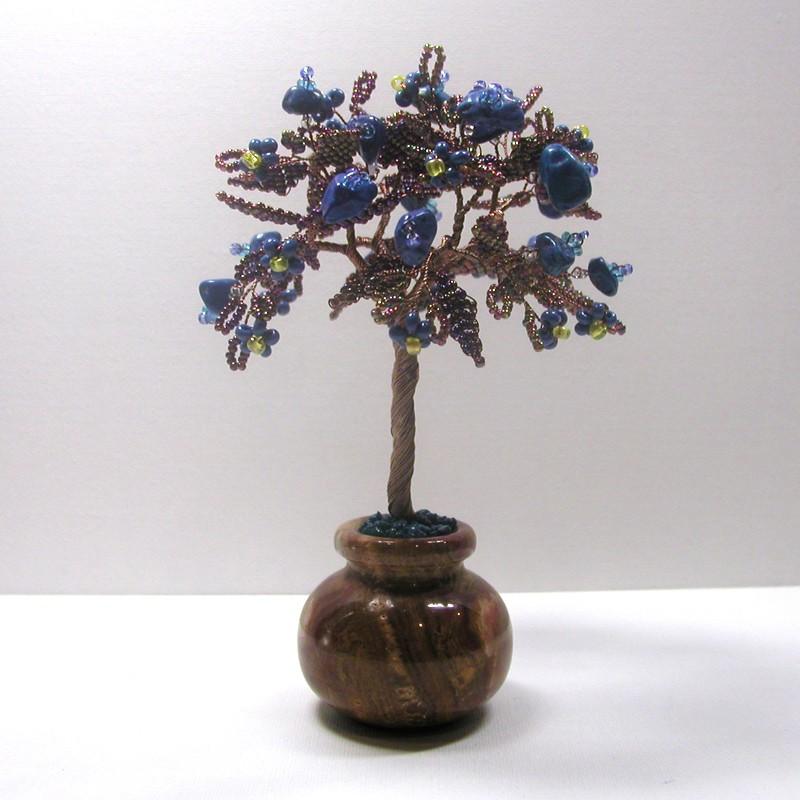 Дерево счастья из лазурита в вазочке из оникса