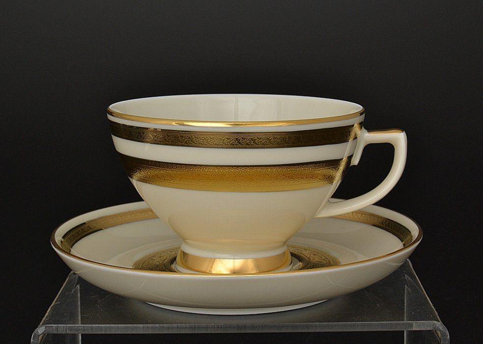Фарфоровый набор из 6 чайных пар 250 мл Crem Gold