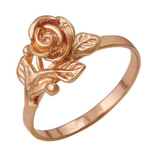 Позолоченной кольцо с декором в виде розочки с листьями