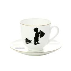 Чашка с блюдцем кофейная Хлопоты, серия Силуэты, фарфор