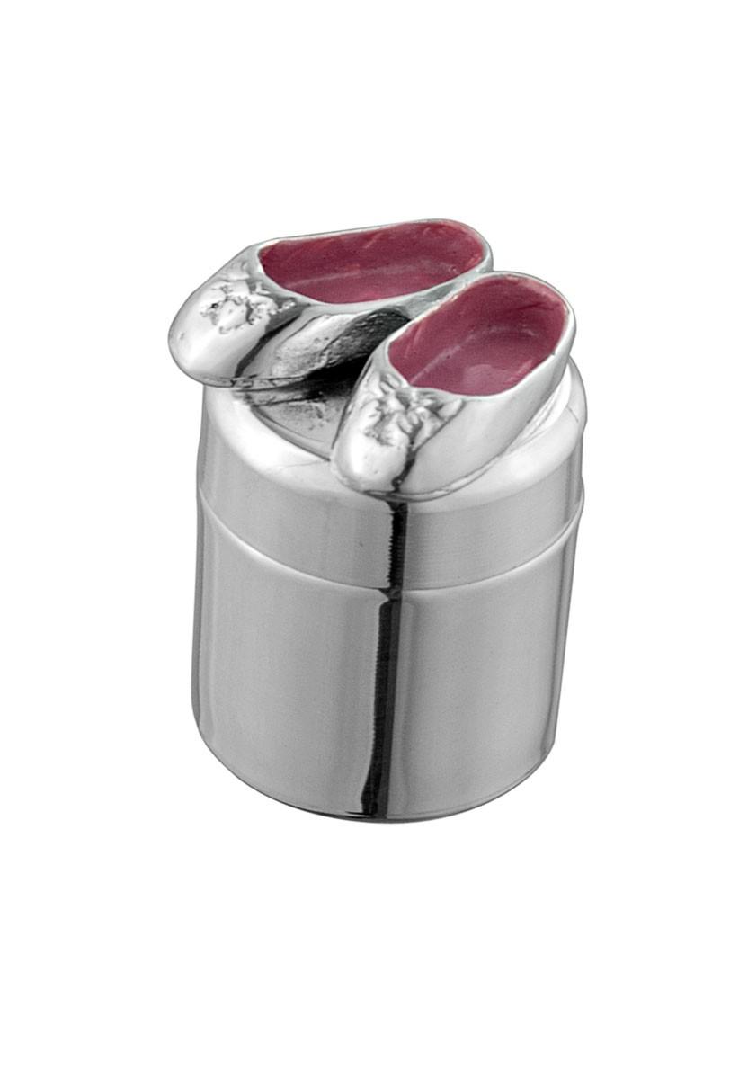 Серебряная шкатулка на первый зуб с туфельками