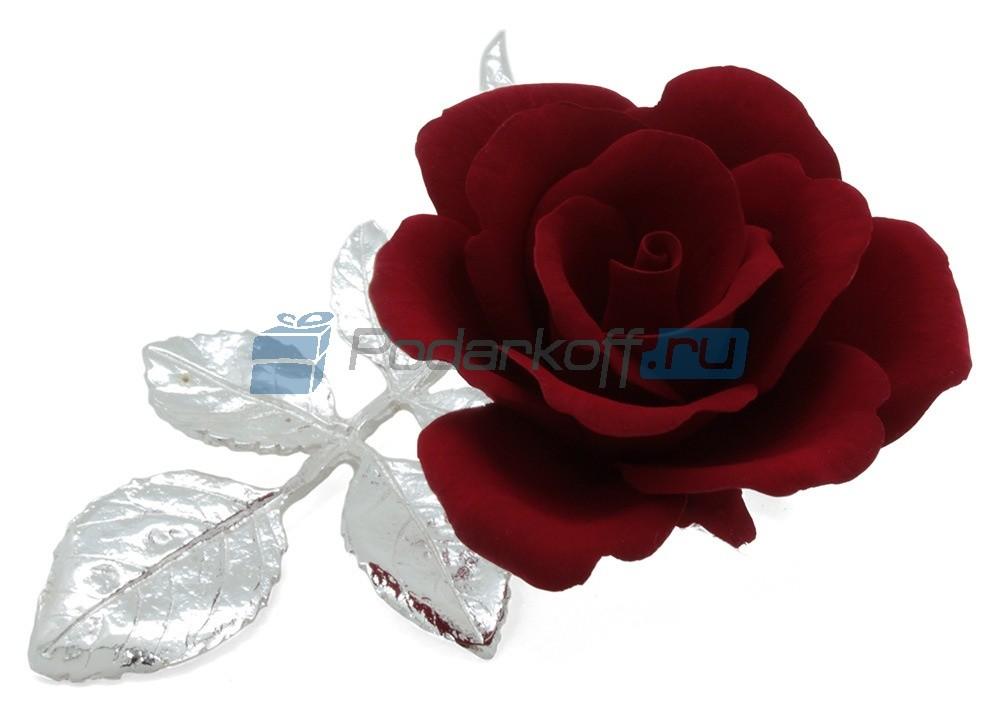 Роза из фарфора на ветке с посеребрением