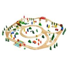 Набор Woody Деревянная железная дорога MAXI, 120 элементов
