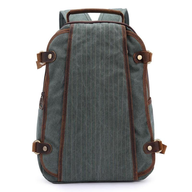 Серый рюкзак с отделкой из кожи