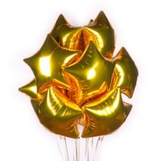 Букет из 50 шаров Золотые фольгированные звезды