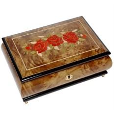Шкатулка с цветами для ювелирных украшений (музыкальная)