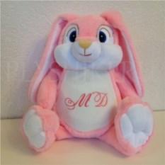 Мягкая именная игрушка Розовый с белым заяц