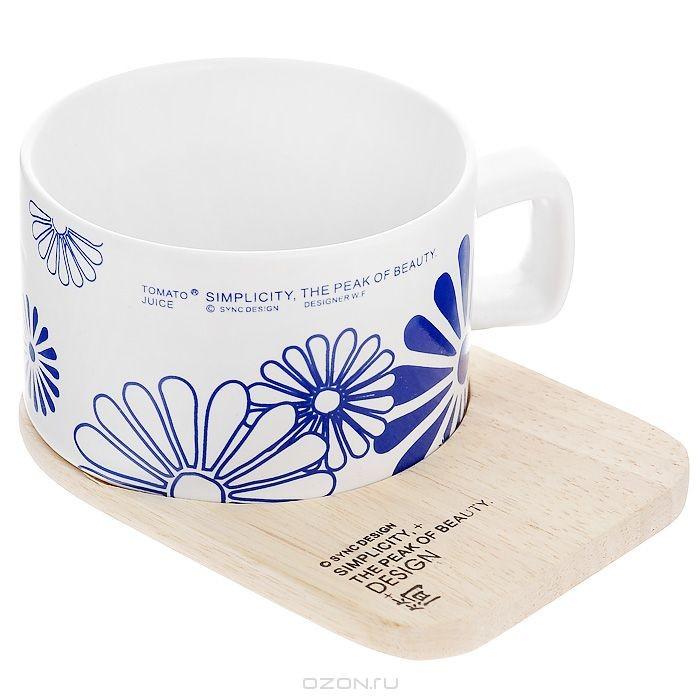 Кружка Синие цветы, с деревянной подставкой