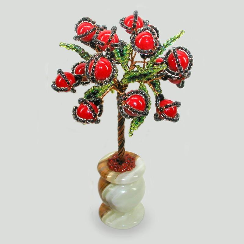 Миниатюрное дерево Один из коралла в вазочке из оникса