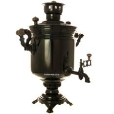 Угольный самовар 5 литров цилиндр (цвет: черный никель)