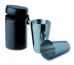 Набор стаканчиков в кожаном чехле S.Quire, черный, 65 мл