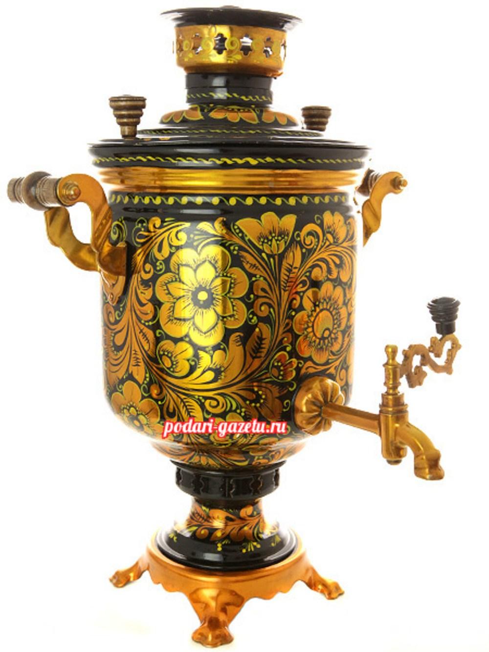 Угольный самовар (жаровый, дровяной) на 5 литров, цилиндр с художественной росписью Золотая хохлома