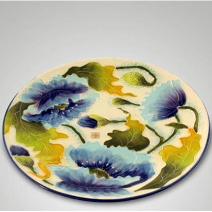 Тарелка декоративная Голубые маки