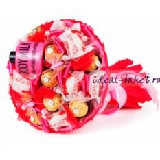 Букет конфет Линда (цвет: красный)