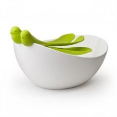 Салатная миска Воробей с зелеными ложками