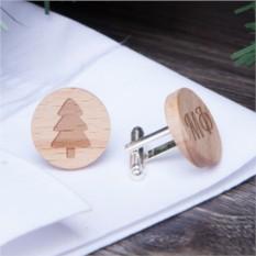 Деревянные запонки Ёлочка с гравировкой (массив бука)