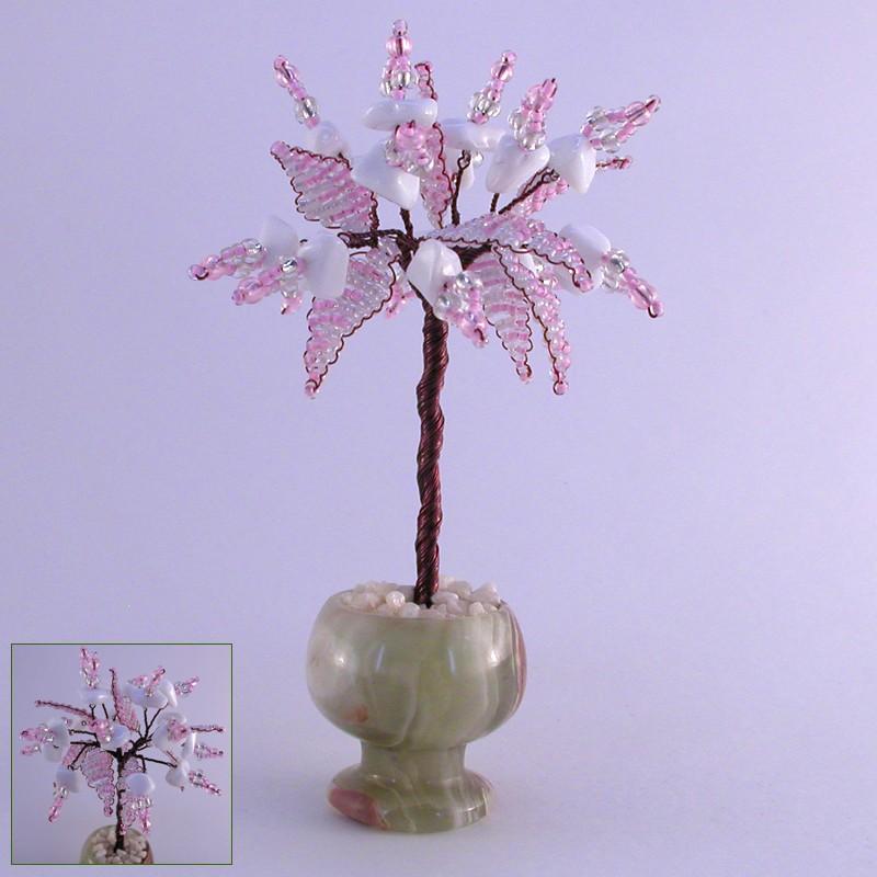 Миниатюрное дерево счастья из кахолонга в вазочке из оникса