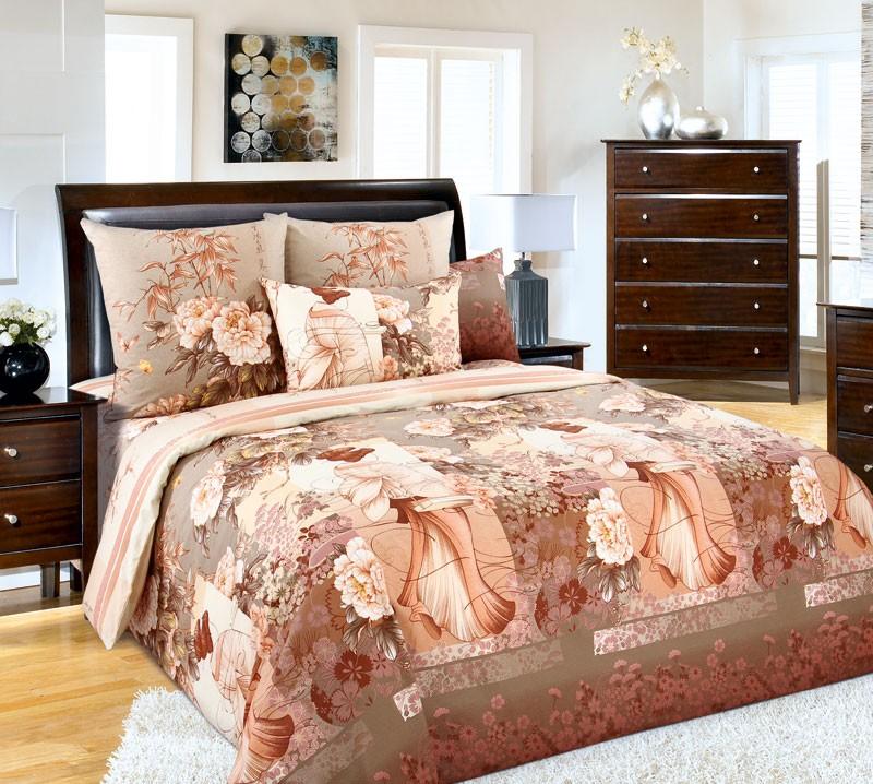 Комплект постельного белья Кабуки коричневый (бязь)