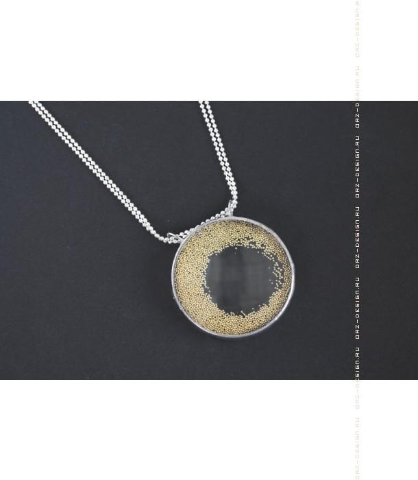 Кулон лупа Микробисер (золотой)