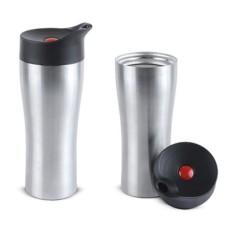 Серебристый вакуумный термостакан Фабио 370 мл