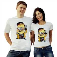 Парные футболки Миньон с пистолетом
