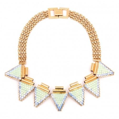 Позолоченное колье Deco Glam с мозаикой из кристаллов
