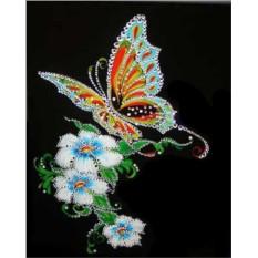 Картина с кристаллами Swarovski Бабочка и белые цветы