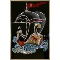 Картина с кристаллами Сваровски Кораблик