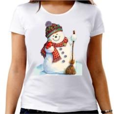 Женская новогодняя футболка Снеговик с метлой