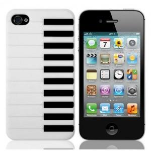 Белый чехол для iPhone 4/4S Пианино