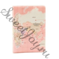Обложка для паспорта World Map Pink