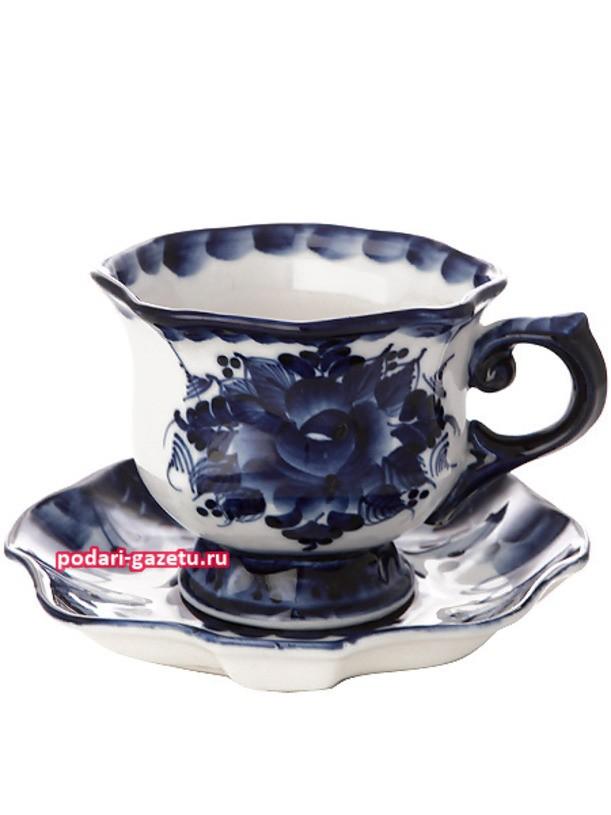 Чайная пара Гжель с художественной росписью Юбилейная