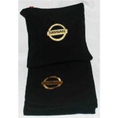 Черный плед с золотой вышивкой Nissan