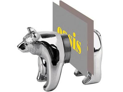 Часы-подставка под визитки «Медведь»