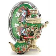 Набор для чаепития Ромашки на зеленом фоне