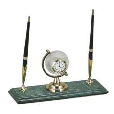 Мраморный настольный набор из 2 ручек и часов-глобуса