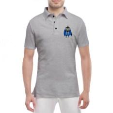 Мужская футболка polo серого цвета Бетмен-герой