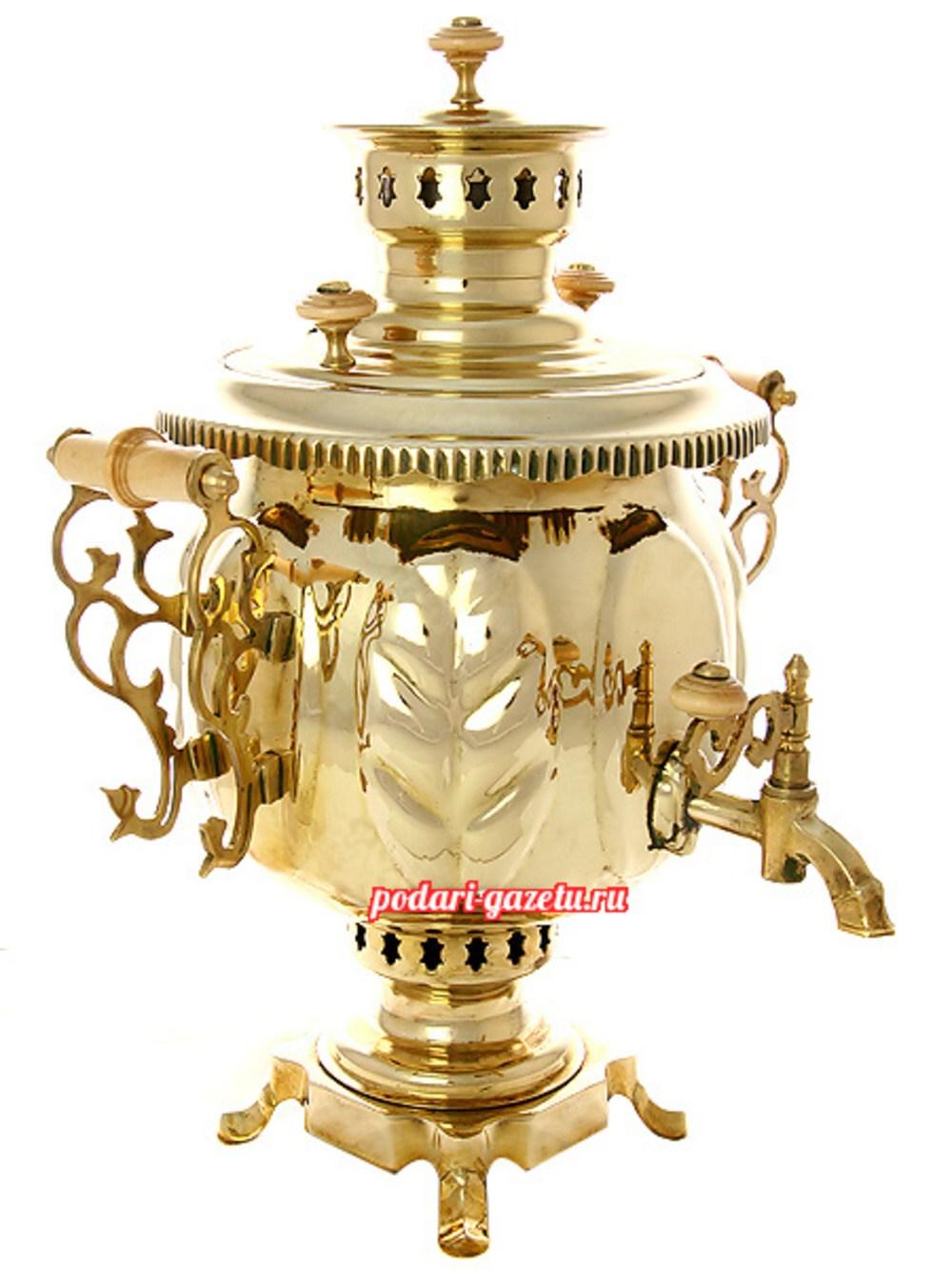 Комбинированный самовар (электрический/угольный) на 4,5 литра желтый шар, Премиум