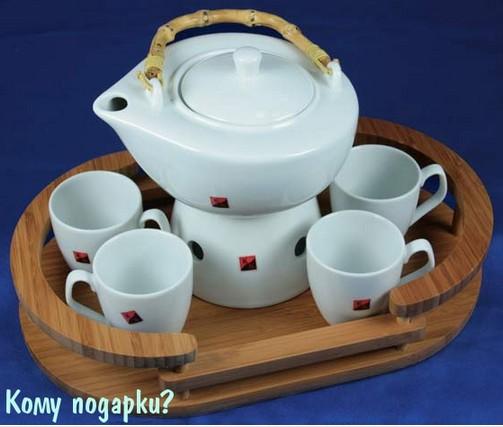 Чайный набор с чайником и сахарницей на бамбуковой подставке