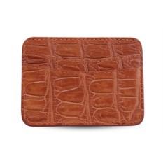 Светло-коричневый держатель для карт из кожи крокодила
