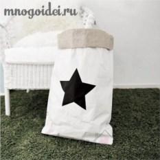 Эко-мешок для игрушек из крафт бумаги Звезда