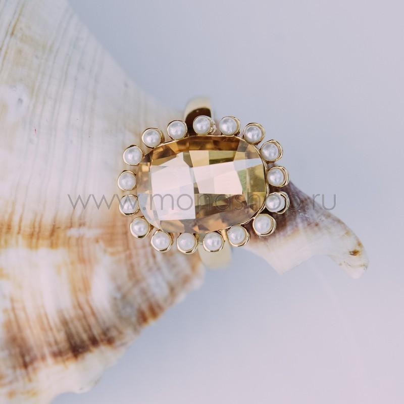 Кольцо с кристаллом Сваровски «Брызги шампанского»