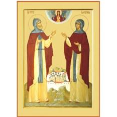 Икона на дереве Петр и Февронья Муромские